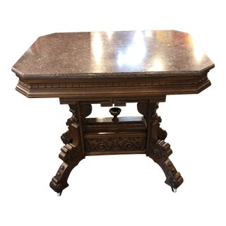 20th Century Hand Carved Wooden Side Table For Sale
