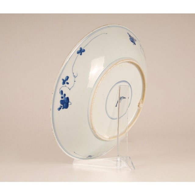 Ng Sing Ming 17th Century Antique Chinese Ming Porcelain Blue and White Deep Charger Bowl For Sale - Image 4 of 12
