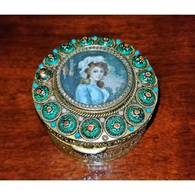 Early 19th Century Early 19c French Gold Box With Enamel and Miniature Portrait For Sale - Image 5 of 12