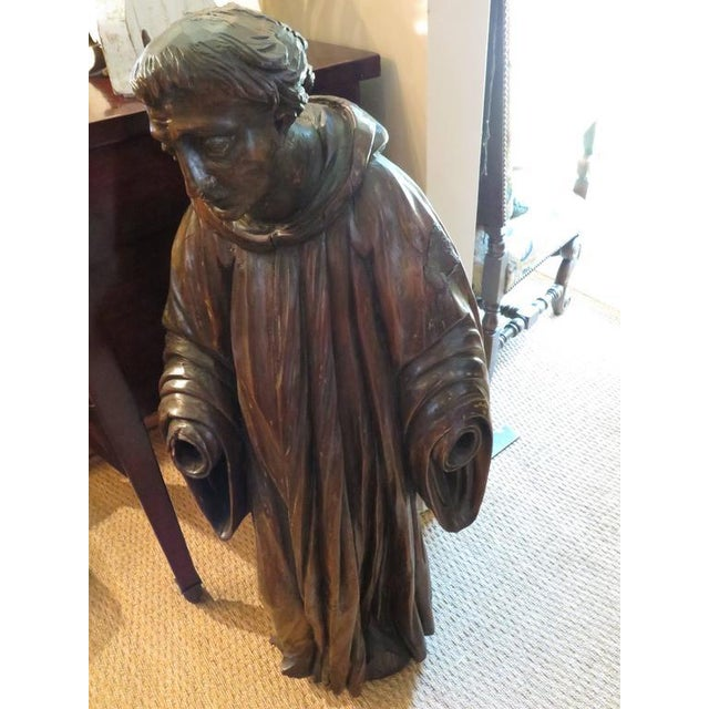 French Carved Walnut Ecclesiastical Figure For Sale - Image 4 of 6