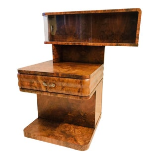 Antique Art Deco Burl Display Cabinet For Sale