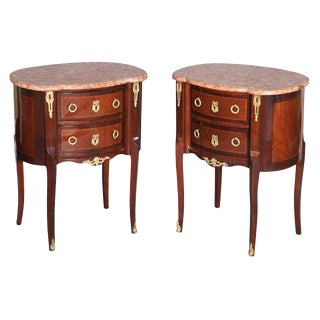 Pair of Inlaid Louis XVI Commodes With Ormolu and Marble Tops For Sale