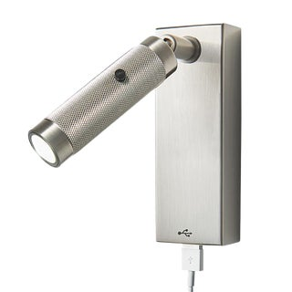 Led Knurled Brushed Nickel Wall Light With Rectangular Backplate and Usb Port For Sale
