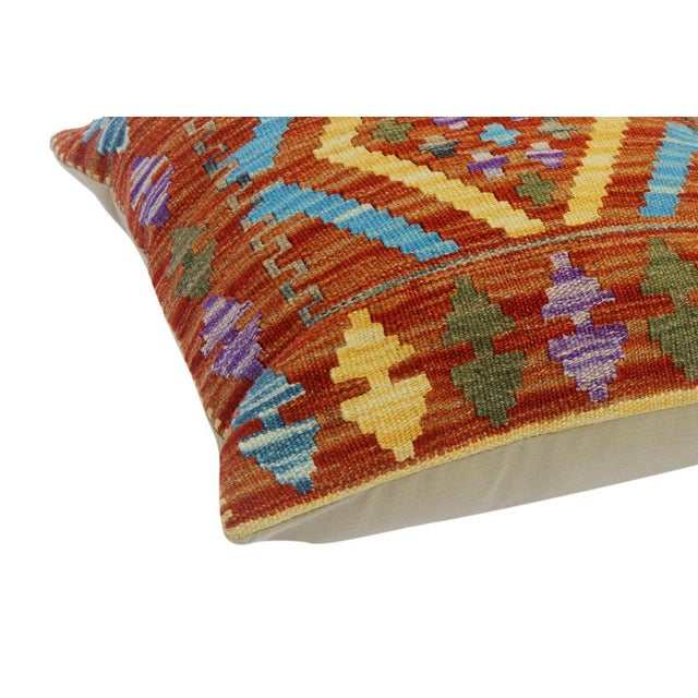 "Chau Rust/Gold Hand-Woven Kilim Throw Pillow(18""x18"") For Sale - Image 4 of 6"