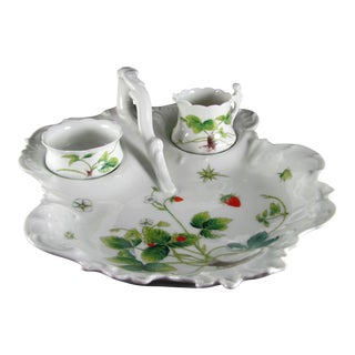 Limoges Hand Painted Porcelain Strawberry Server, Creamer and Sugar - 3 Piece Set For Sale