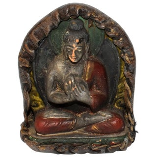 Antique Leather Tibetan Amulet With Buddha Teaching For Sale