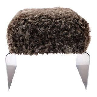 Chrome & Kalgan Lamb Upholstered Bench