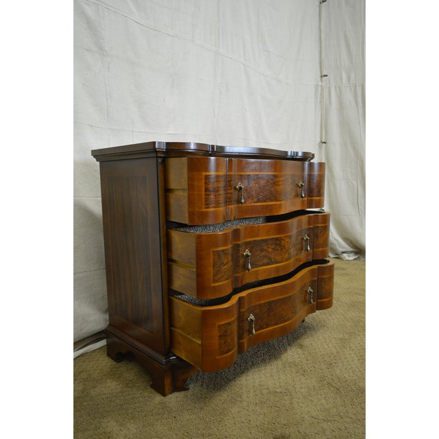 Trouvailles Continental Style Burl Wood Serpentine Chest of Drawers For Sale - Image 5 of 11