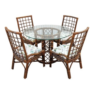 Vintage Boho Chic Rattan 5 Piece Dining Set - Set of 5 For Sale