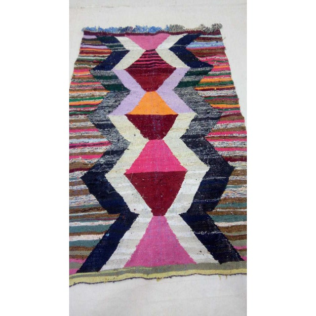 Abstract 1920's Vintage Boho Chic Bauhaus Modern Runner - 7′1″ × 4′7″ For Sale - Image 3 of 10