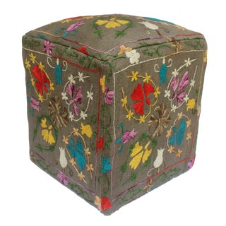 Daryl Gray/Purple Kilim Hand Embroidered Upholstered Ottoman For Sale