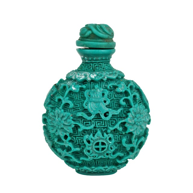 Chinese Carved Turquoise Snuff Bottle - Image 1 of 6