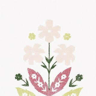 Sample - Schumacher Floweret Paperweave Wallpaper in Summer For Sale