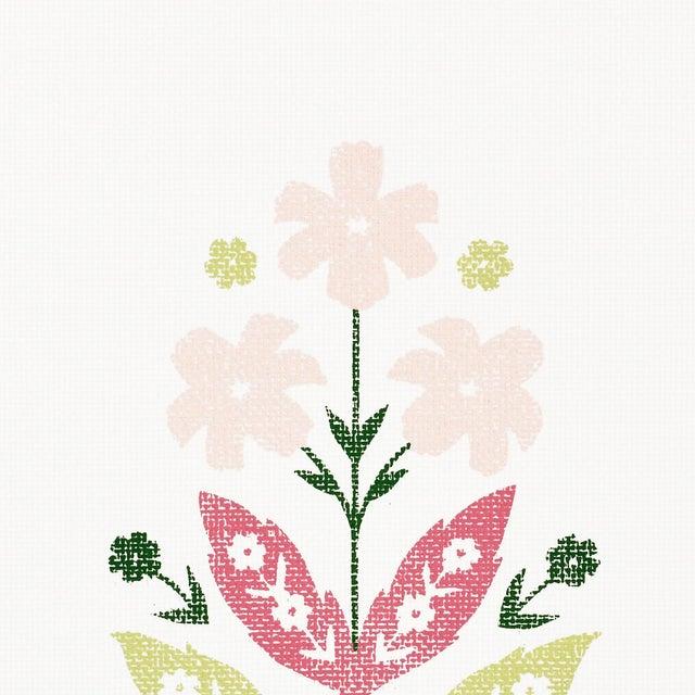 Sample - Schumacher Floweret Paperweave Wallpaper in Summer For Sale