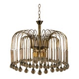 Image of 1950s Mid Century Brass and Crystal Chandelier For Sale