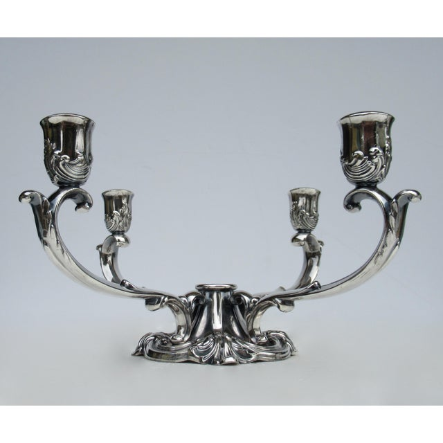 Victorian C1960's-70's Vintage Georgian-Style Gorham Silverplate Candelabra, 5-Candle Holder Centerpiece For Sale - Image 3 of 13