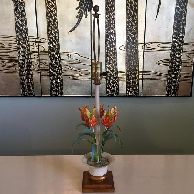 Metal Vintage Tole Floral Lamp For Sale - Image 7 of 8