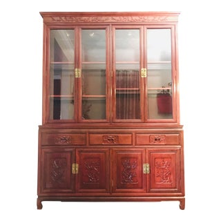 1980s Asian China Cabinet For Sale