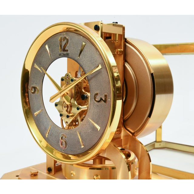 Case Glass Brass Jaeger Le Coultre Mantel Desk Clock For Sale - Image 9 of 13