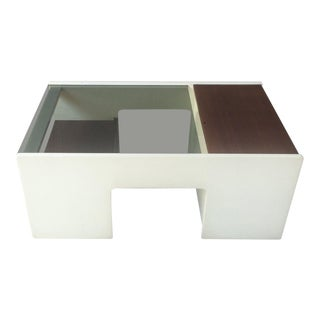 1970's Mid-Century Modern Italian White Lacquer and Rosewood Coffee Table Bar
