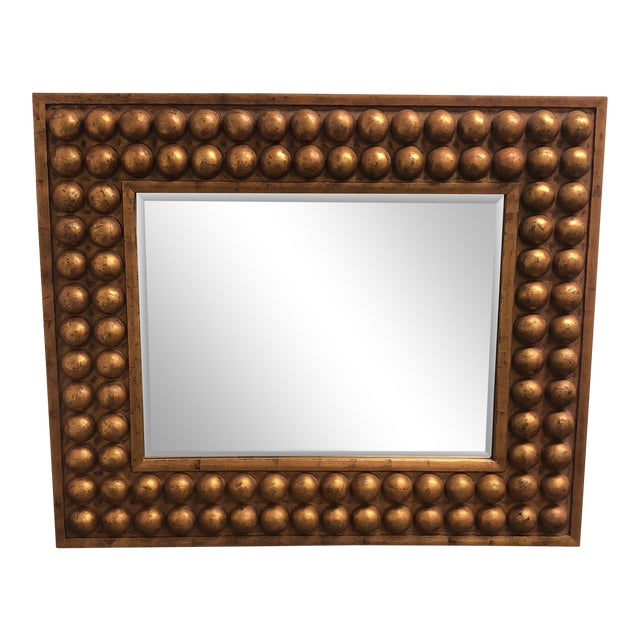 Vintage Bubble Framed Gold Finish Mirror - Image 1 of 7