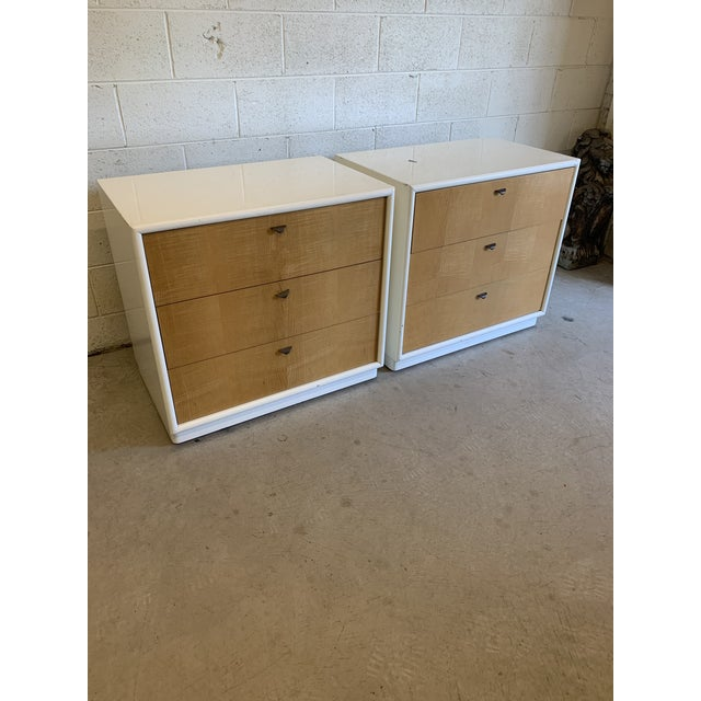 While these clearly have a few nicks to the finish, they are so well made and solid, I couldn't resist. Pair of 3-drawer...