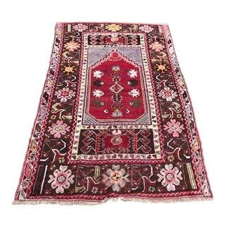 1980s Red Floral Mihrab Meditation Rug - 3′2″ × 5′1″ For Sale
