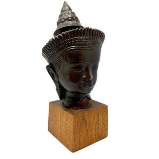 Vintage Bronze Buddha Head on Teak Base For Sale