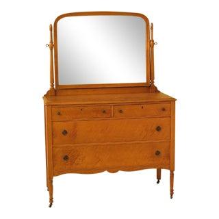 Vintage 1930's Birdseye Maple Dresser W. Mirror For Sale