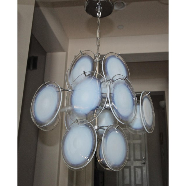 Vistosi Murano Clear & Opalescent Glass Disc Chandelier Pendant Light For Sale - Image 12 of 13