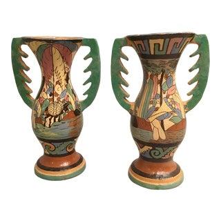 Vintage Mexican Vases Tlaquepaque - a Pair For Sale