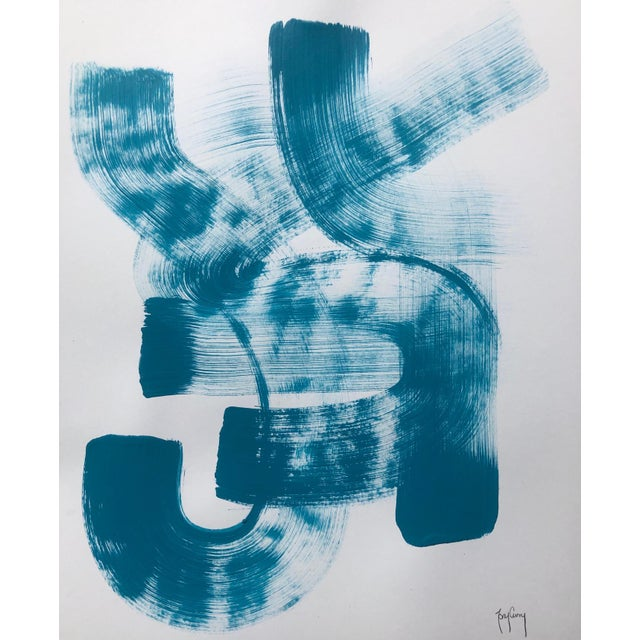 Blue & White Modern Abstract Painting by Tony Curry For Sale