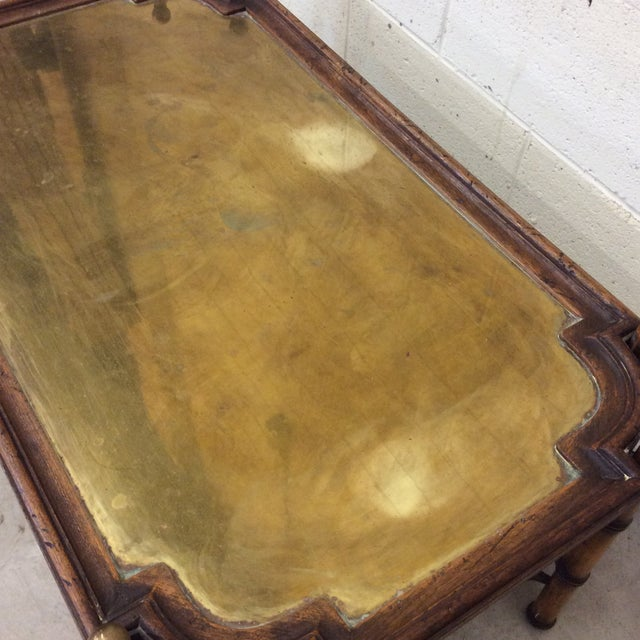 Brass Chinese Chippendale Faux Bamboo and Brass Tray Coffee Table by Sarreid For Sale - Image 7 of 11