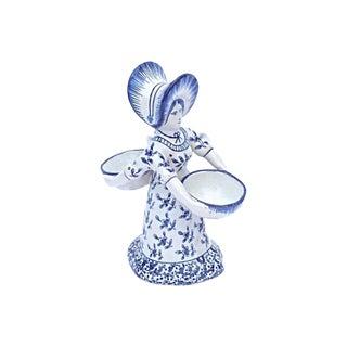19th Century Figurative Delft Double Maiden Figurine For Sale