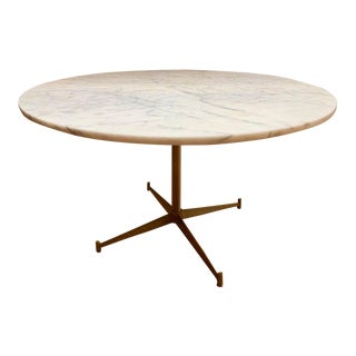Mid Century Modern Paul McCobb Round Marble Top Brass Base Dining Table For Sale