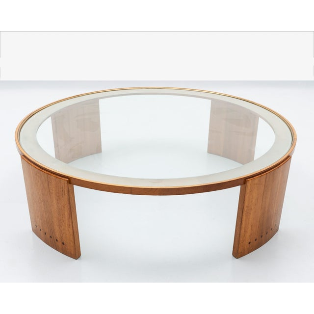 1950s 1950s French Oak and Glass Coffee Table With Elegant Details For Sale - Image 5 of 5