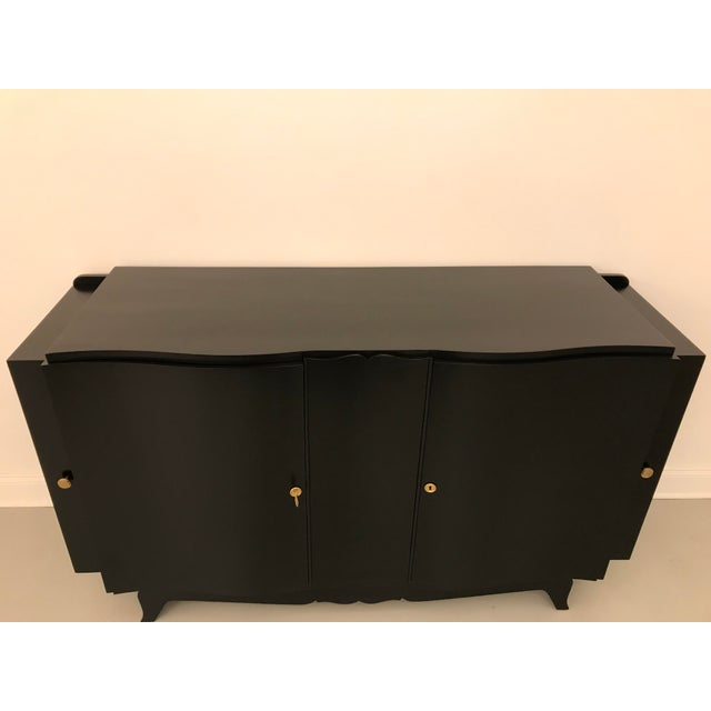 Paint French Art Deco Black Lacquered Sideboard or Buffet With Dry Bar For Sale - Image 7 of 12