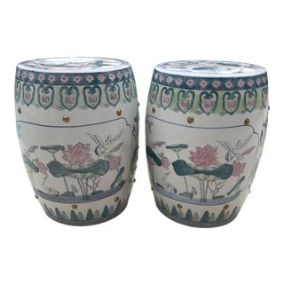 Vintage Chinoiserie Asian Garden Stools-A Pair