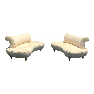 Kagan Style Curved Kidney Shaped Sofas - Sold as a Pair or Individuality For Sale
