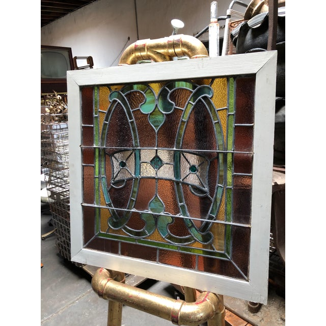 Green 1960s Vintage Framed Square Stained Glass For Sale - Image 8 of 12
