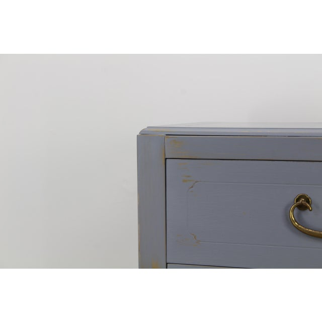 Pair of Mid-Century Gray Nightstands, Hand Painted Nightstands, Pair of Gray Nightstands, 1970's Nightstands For Sale - Image 11 of 13