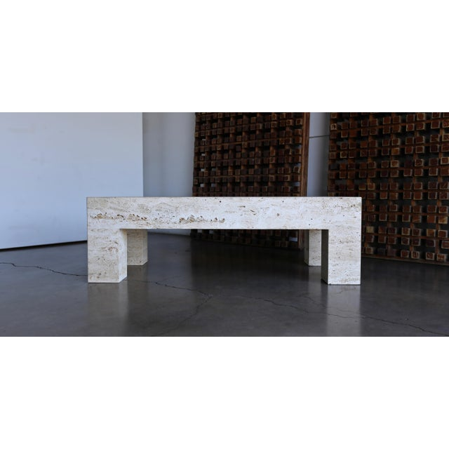 Travertine Coffee Table 1980 For Sale - Image 10 of 11