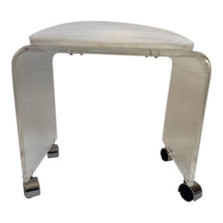 Vintage Thick Lucite Rolling Stool For Sale