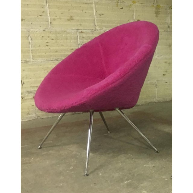 Danish Pair of Flying Saucer Shaped Newly Covered in Pink Wool Faux Fur For Sale - Image 4 of 5