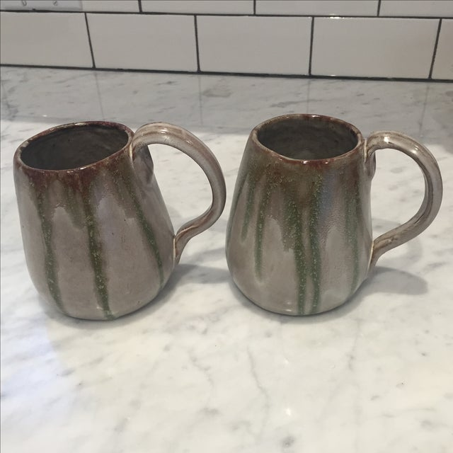 Rustic Vintage Studio Pottery Coffee Mugs - A Pair For Sale - Image 3 of 6