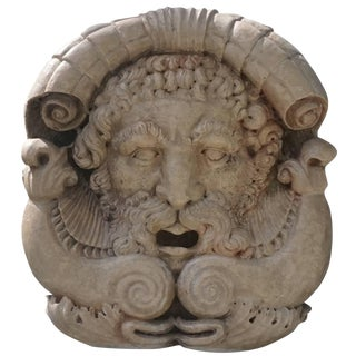 18th Century Italian Marble Poseidon Mask For Sale
