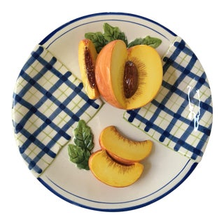 Trompe l'Oeil Decorative Blue Plaid Peach Plate For Sale