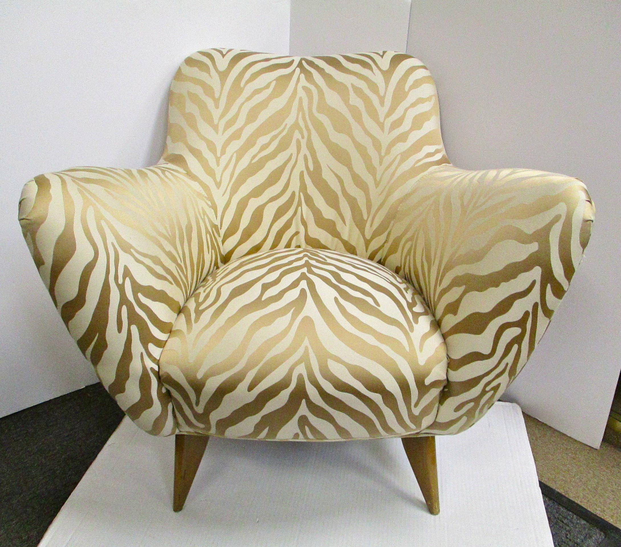 Mid Century Upholstered Zebra Print Arm Chair   Image 2 Of 5