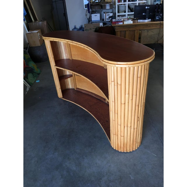 Biomorphic Stacked Rattan Bar With Mahogany Front & Top For Sale - Image 9 of 10