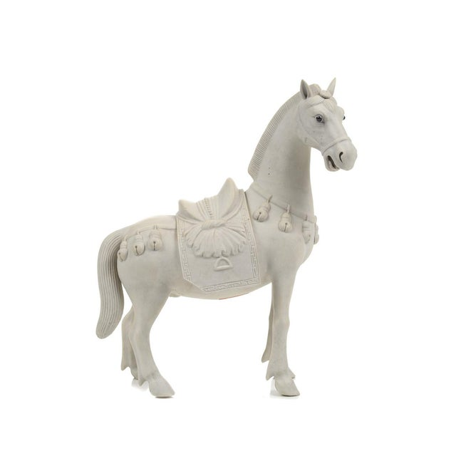 Asian Rare Chinese Bisque Porcelain Horse Figurines - 2 For Sale - Image 3 of 9
